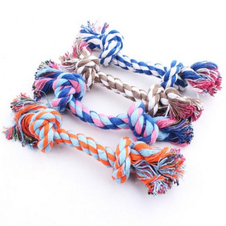 Colored rope with knots for dogs